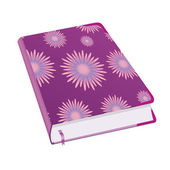 Diary for business women and girls Book for recording deeds Copybook with lilac flowers with a bookmark and shadows To schedule a businessman Vector illustration
