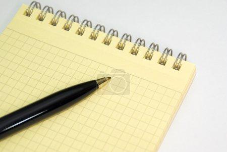 Notebook and ballpoint pen