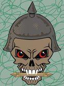 Vector illustration of a skull wearing a viking helmet