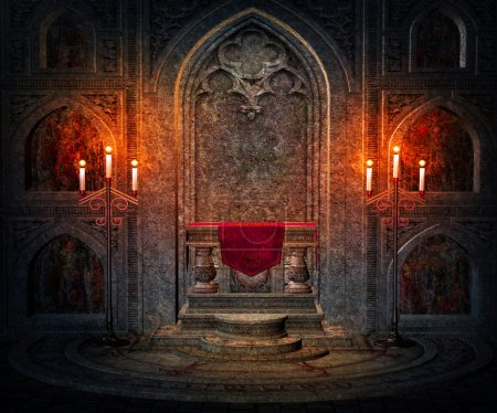 Dark Interior Gothic Background...