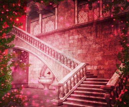 Pink Castle Interior Fantasy Backdrop