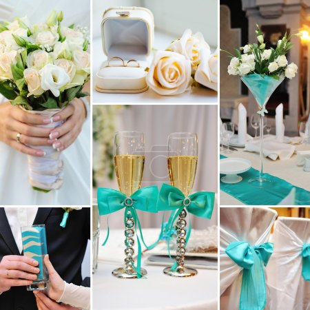 Collage of wedding pictures decorations in turquoise, blue color