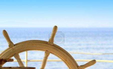 Ship rudder and blue sea