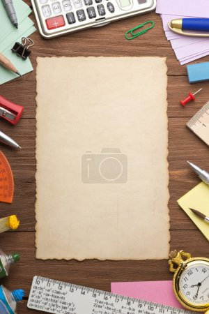 office supplies and aged paper