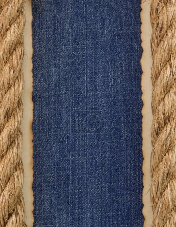 ship ropes on jeans background