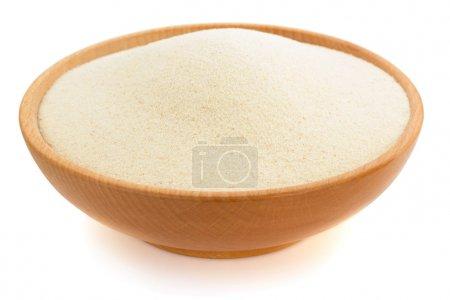 Semolina in plate bowl