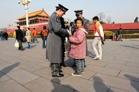 Security in Tiananmen square in Beijing China