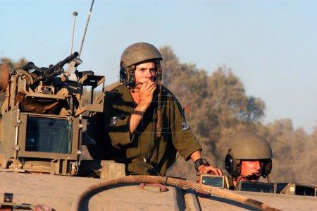 Israeli soldiers in armed vehicle