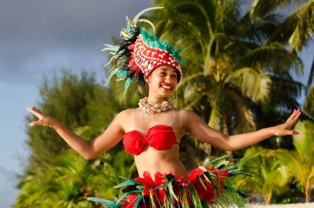 Young Polynesian Pacific Island Tahitian Woman Dancer