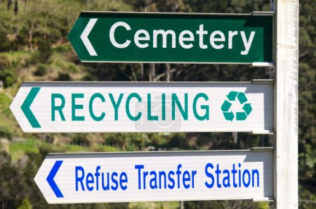 Cemetery and Recycling Station Street Signs