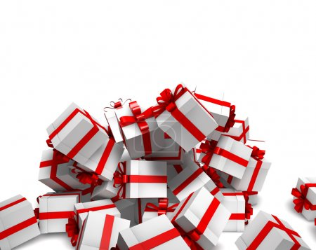 Falling white gift boxes with red ribbon
