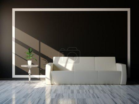 Photo pour Meubles blancs modernes de conception intérieure sur le mur noir - image libre de droit
