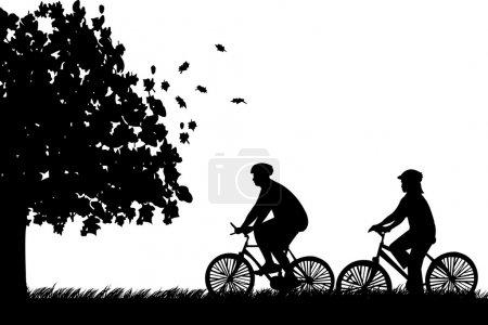 Couple bike ride in park in autumn or fall silhouette, one in the series of similar images