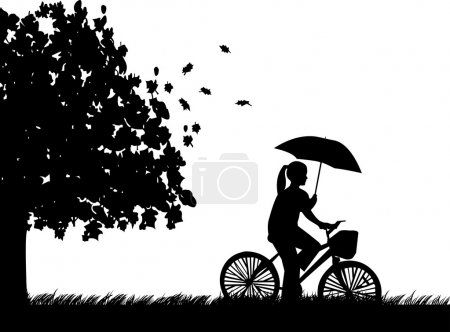 Young woman ride bike in the rain under umbrella in park in autumn or fall silhouette
