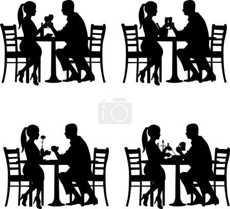 fond avec couple romantique au restaurant à la silhouette de la situation différente
