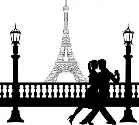Illustration for Romantic couple dancing in front of Eiffel tower in Paris silhouette, one in the series of similar images - Royalty Free Image