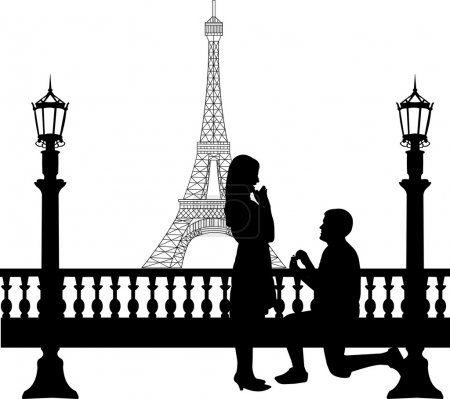 Romantic proposal in Paris in front of Eiffel tower on Valentine's day of a man proposing to a woman while standing on one knee silhouettes