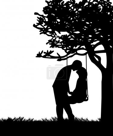 Couple in love on Valentine s Day on a swing in park or garden silhouette