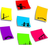 The most famous bridges of the world silhouette on sticky memo paper
