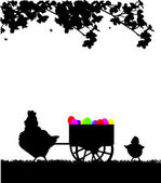 Easter rooster pushing carts full of Easter eggs in the park silhouette