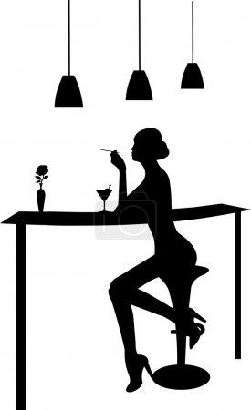 Illustration pour Fille boire du martini et fumer une cigarette dans une silhouette de bar - image libre de droit