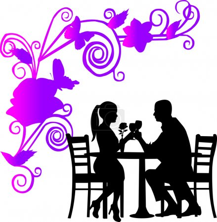 Illustration for Background with flowers and butterflies and romantic couple in restaurant toast with glass of wine in color silhouette layered - Royalty Free Image