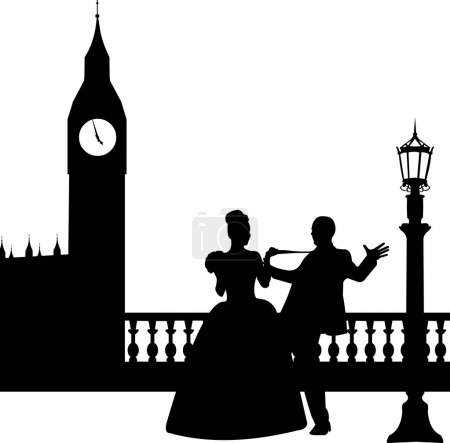 Illustration for Wedding couple in front of Big Ben in London silhouette, one in the series of similar images - Royalty Free Image