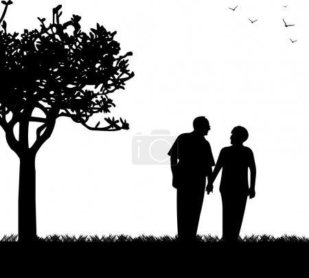 Lovely retired elderly couple walking in park