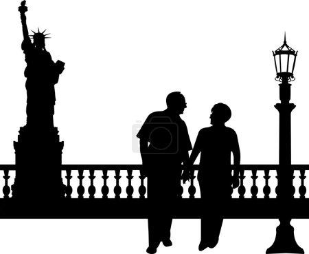 Schönes Rentnerehepaar geht in New York spazieren
