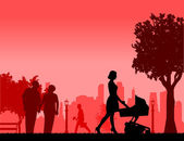 People in park and different activities in park scene silhouette layered one in the series of similar images