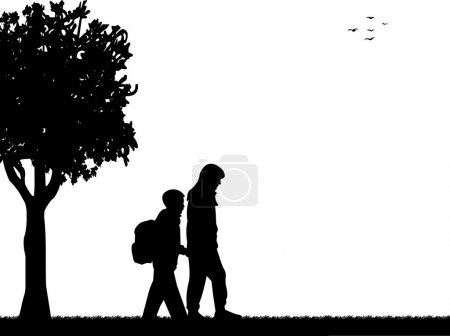 Kids going to school with backpack