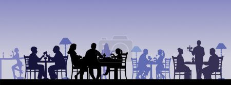 Illustration for Silhouette of people eating in a restaurant with all figures as separate objects layered - Royalty Free Image