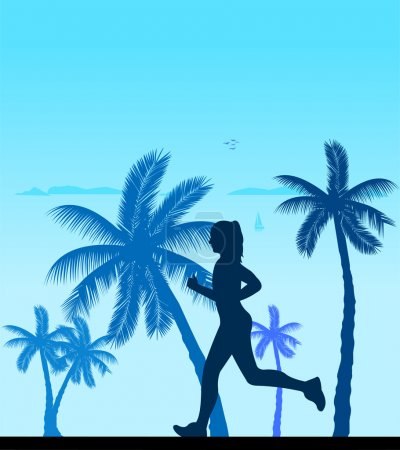 Illustration for Girl running on the beach silhouette layered, one in the series of similar images - Royalty Free Image