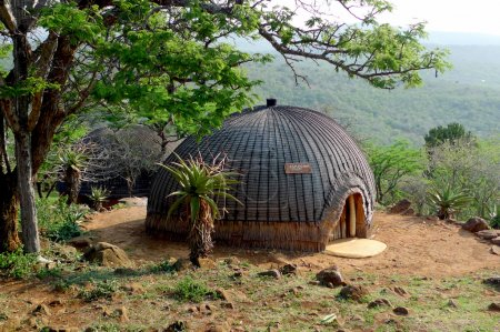 Isangoma house in Shakaland Zulu Village in Kwazulu Natal province, South Africa. Isangoma is a witch doctor and traditional Zulu healer.
