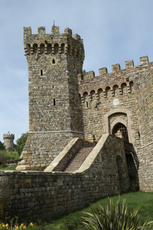 Castello di Amorosa Winery entrance in Napa Valley