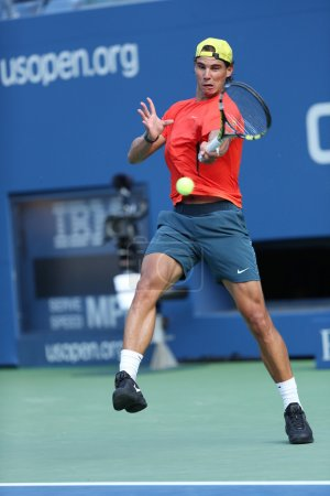 Twelve times Grand Slam champion Rafael Nadal practices for US Open 2013 at Arthur Ashe Stadium at Billie Jean King National Tennis Center