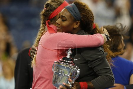 Finalist Victoria Azarenka congratulates winner Serena Williams after she lost final match at US Open 2013