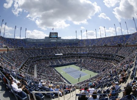 Areal view of Arthur Ashe Stadium at the Billie Jean King National Tennis Center during US Open 2013