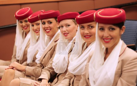 Emirates Airline flight attendants at the Billie Jean King National Tennis Center during US Open 2013