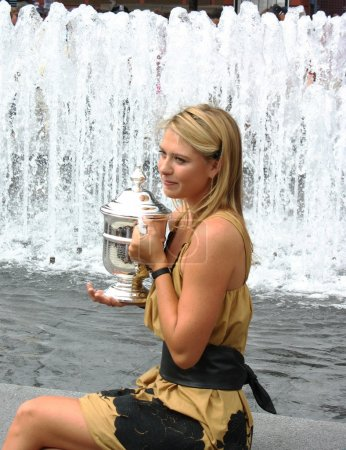 US Open 2006 champion Maria Sharapova holds US Open trophy after her win the ladies singles final