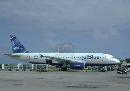 Jet Blue plane at Punta Cana International Airport , Dominican Republic