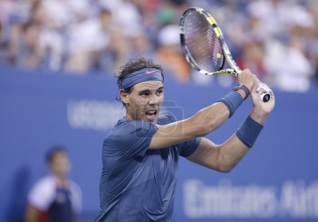 Twelve times Grand Slam champion Rafael Nadal during his fourth round match at US Open 2013 against Philipp Kohlschreiber at Arthur Ashe Stadium