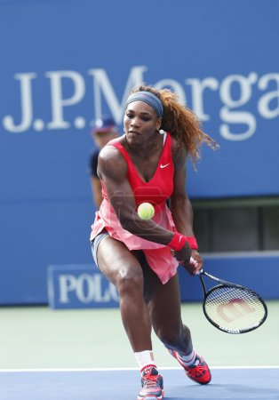 Grand Slam champion Serena Williams during fourth round match at US Open 2013 against Sloane Stephens at Billie Jean King National Tennis Center