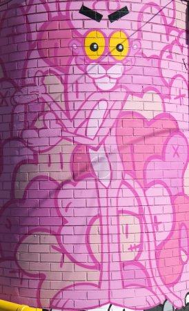Pink panther mural at East Williamsburg neighborhood in Brooklyn, New York