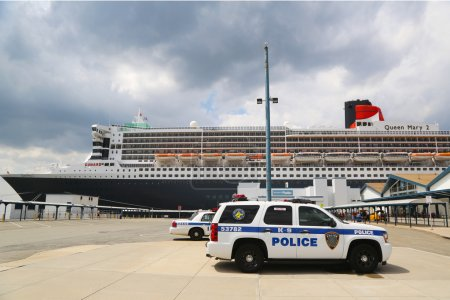 Port Authority Police New York New Jersey K-9 unit providing security for Queen Mary 2 cruise ship