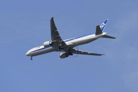All Nippon Airways Boeing 777 in New York sky before landing at JFK Airport