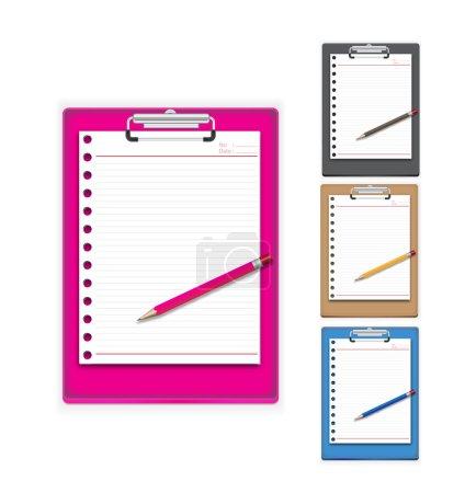 Illustration pour Clip Conseil papier et un crayon avec trois couleurs disponibles - image libre de droit