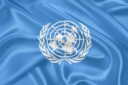 Photo pour Drapeau des Nations Unies agitant un motif de texture textile très détaillé - image libre de droit
