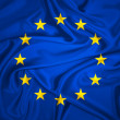 Flag of Europe waving with highly detailed textile...