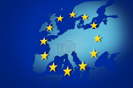 Photo for European Union: flag and map - Royalty Free Image